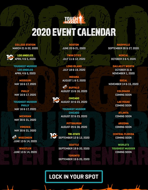 Atlanta Events Chedule 2020.Tough Mudder Releases 2020 Schedule Mud Run Ocr Obstacle